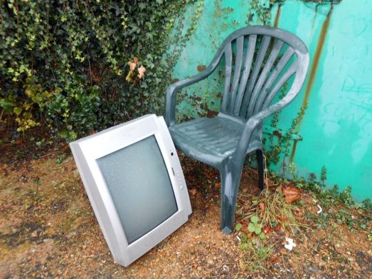 Garden Chair & Computer Monitor