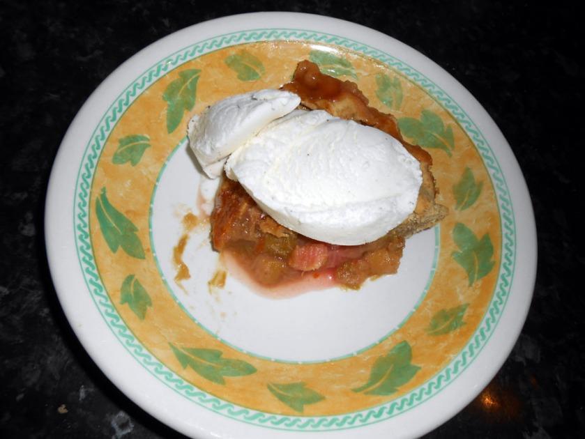Rhubarb & Cherry Jam Pie with Goats Milk Ice Cream